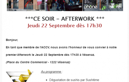 Afterwork Jeudi 22 septembre à Vésenaz